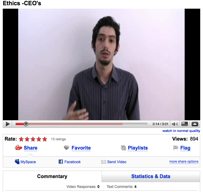 Even after winning the Davos Debates, only a dozen or so people rated this video and only 4 people thought to comment.